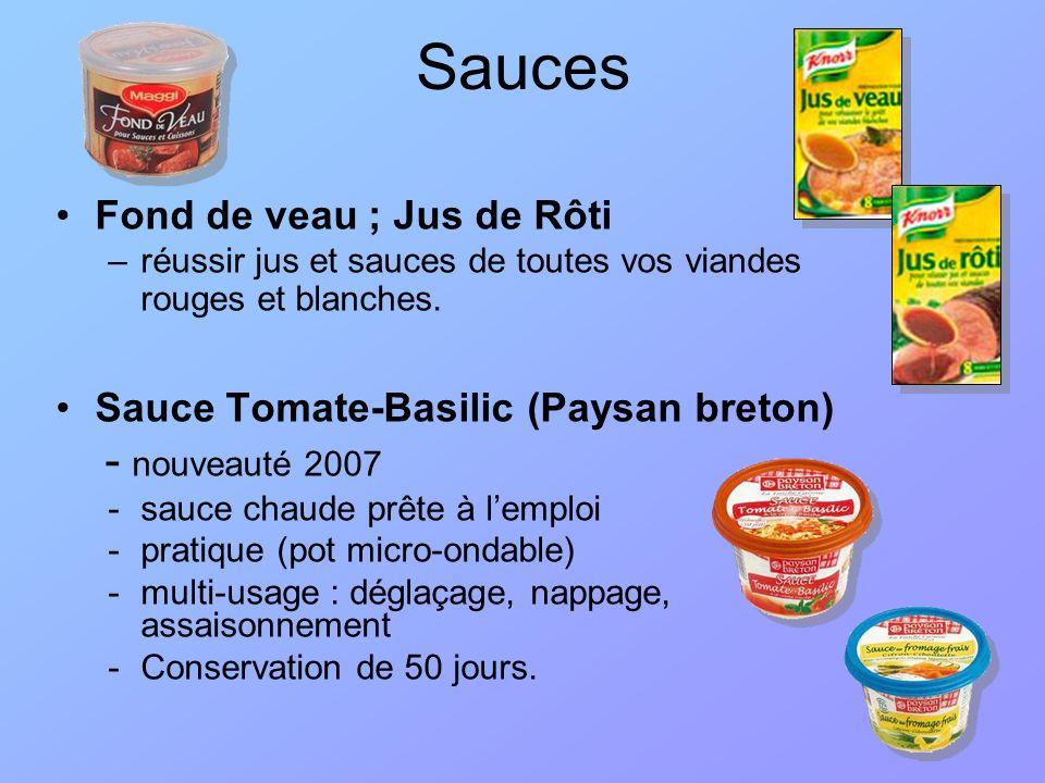 Sauces gélifiées : Raps –Dijonnaise, fromage, Ketchup Sauces ethniques : Ariake –Fonds de sauce sans additifs : clean label –Réduction de la teneur en sel, –Différentes formes : –Congelée; –Liquide ambiante; –Poudre.