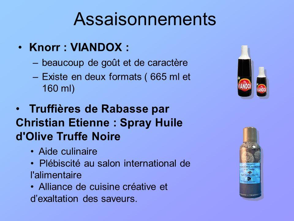 Assaisonnements Knorr : VIANDOX : –beaucoup de goût et de caractère –Existe en deux formats ( 665 ml et 160 ml) Truffières de Rabasse par Christian Et