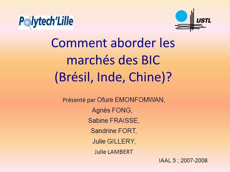 Comment aborder les marchés des BIC (Brésil, Inde, Chine)? Présenté par Ofure EMONFOMWAN, Agnès FONG,, Sabine FRAISSE, Sandrine FORT, Julie GILLERY, J