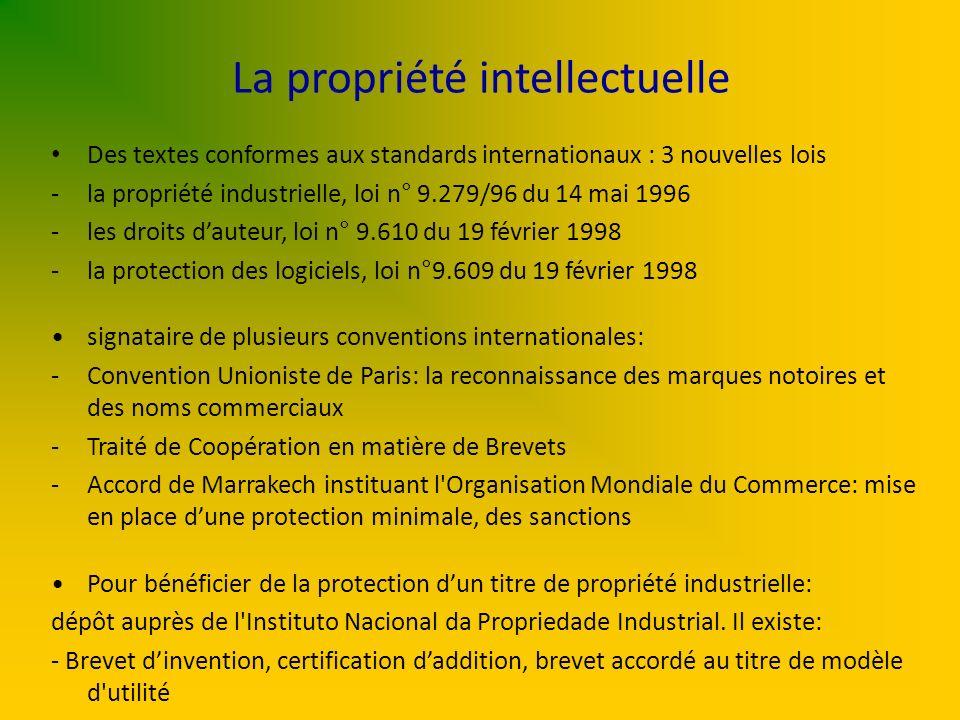 La propriété intellectuelle Des textes conformes aux standards internationaux : 3 nouvelles lois -la propriété industrielle, loi n° 9.279/96 du 14 mai