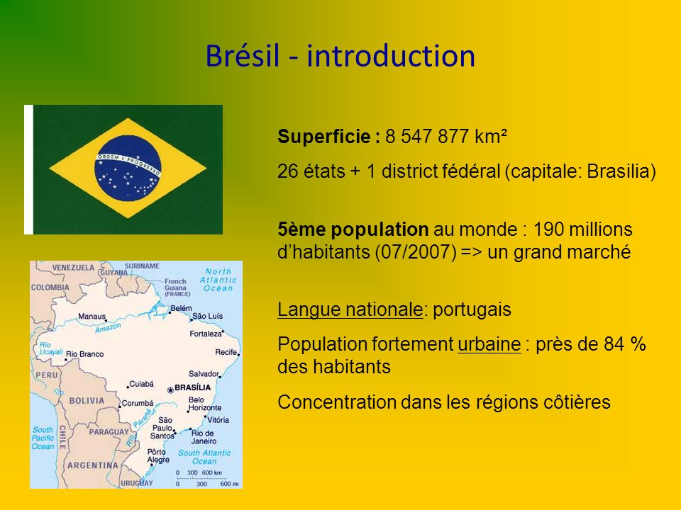 Brésil - introduction Superficie : 8 547 877 km² 26 états + 1 district fédéral (capitale: Brasilia) 5ème population au monde : 190 millions dhabitants