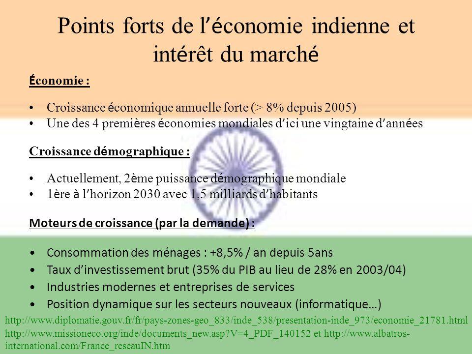 Points forts de l é conomie indienne et int é rêt du march é É conomie : Croissance é conomique annuelle forte (> 8% depuis 2005) Une des 4 premi è re