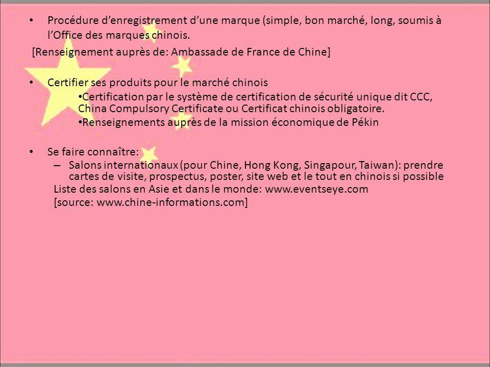 Procédure denregistrement dune marque (simple, bon marché, long, soumis à lOffice des marques chinois. [Renseignement auprès de: Ambassade de France d