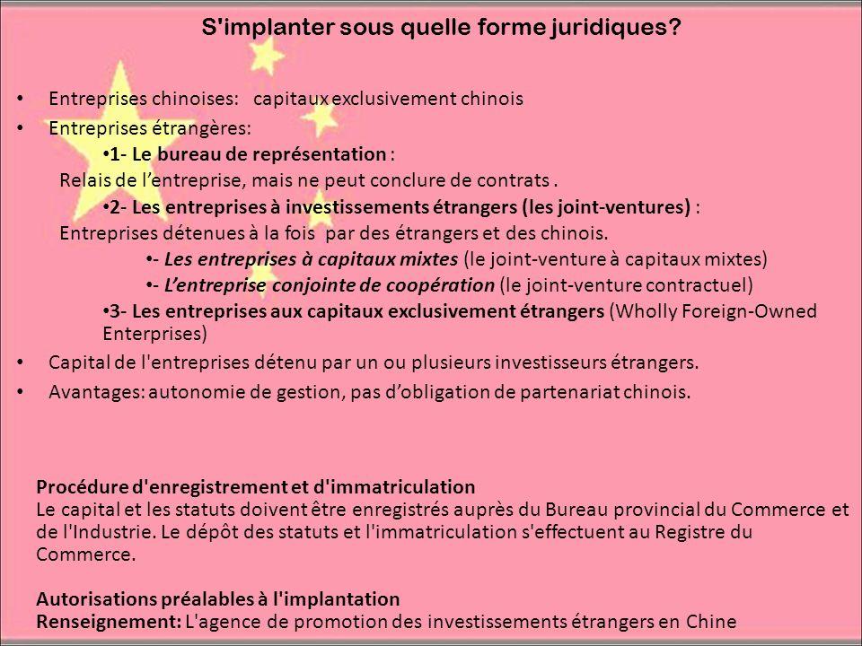 S'implanter sous quelle forme juridiques? Entreprises chinoises: capitaux exclusivement chinois Entreprises étrangères: 1- Le bureau de représentation