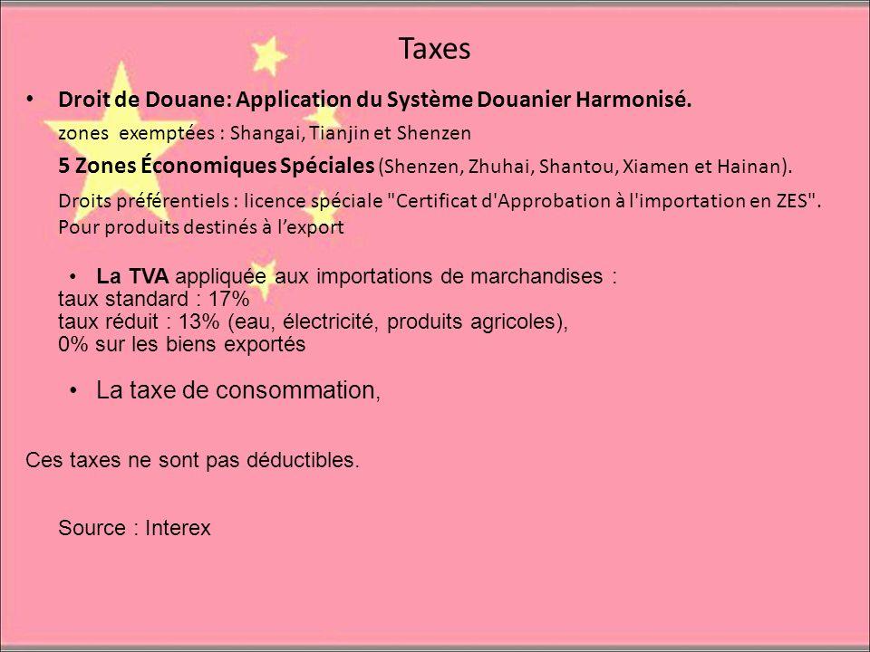 Taxes Droit de Douane: Application du Système Douanier Harmonisé. zones exemptées : Shangai, Tianjin et Shenzen 5 Zones Économiques Spéciales (Shenzen
