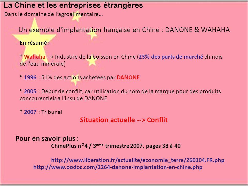 Dans le domaine de lagroalimentaire… La Chine et les entreprises étrangères Un exemple d'implantation française en Chine : DANONE & WAHAHA En résumé :