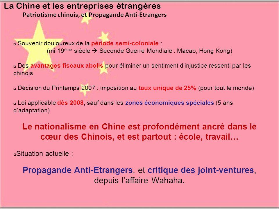 La Chine et les entreprises étrangères Patriotisme chinois, et Propagande Anti-Etrangers Souvenir douloureux de la période semi-coloniale : (mi-19 ème