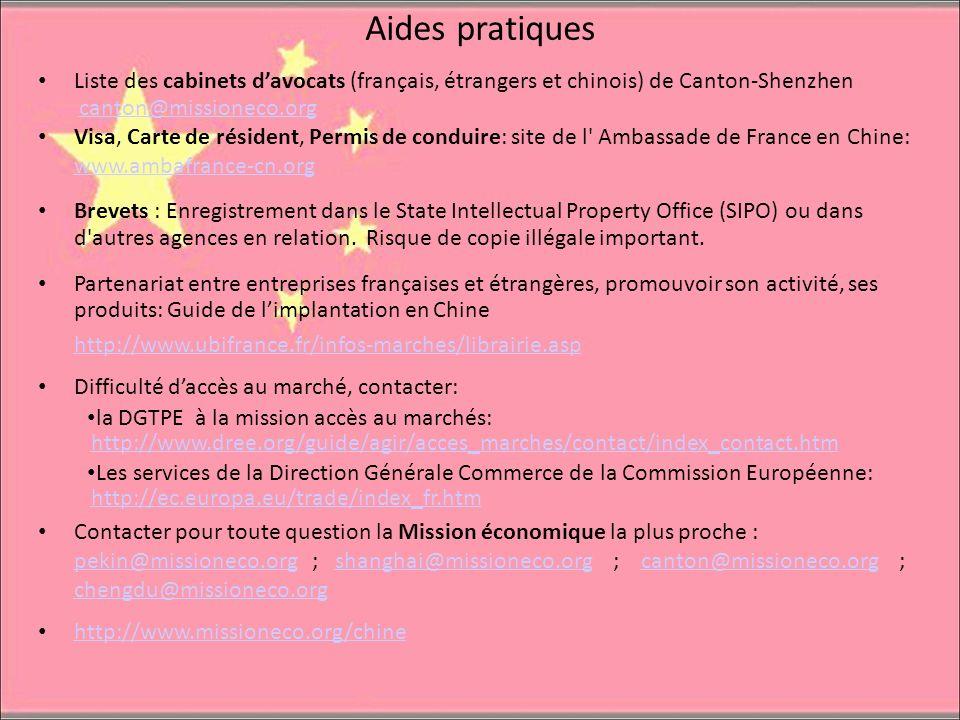 Aides pratiques Liste des cabinets davocats (français, étrangers et chinois) de Canton-Shenzhen canton@missioneco.org Visa, Carte de résident, Permis