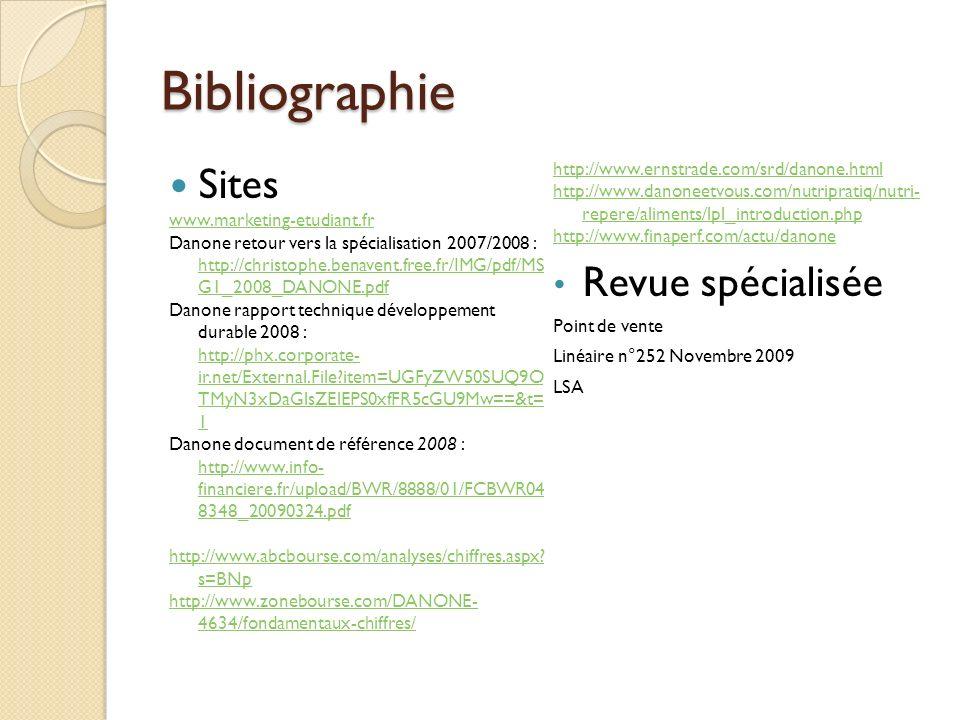 Bibliographie Sites www.marketing-etudiant.fr Danone retour vers la spécialisation 2007/2008 : http://christophe.benavent.free.fr/IMG/pdf/MS G1_2008_D