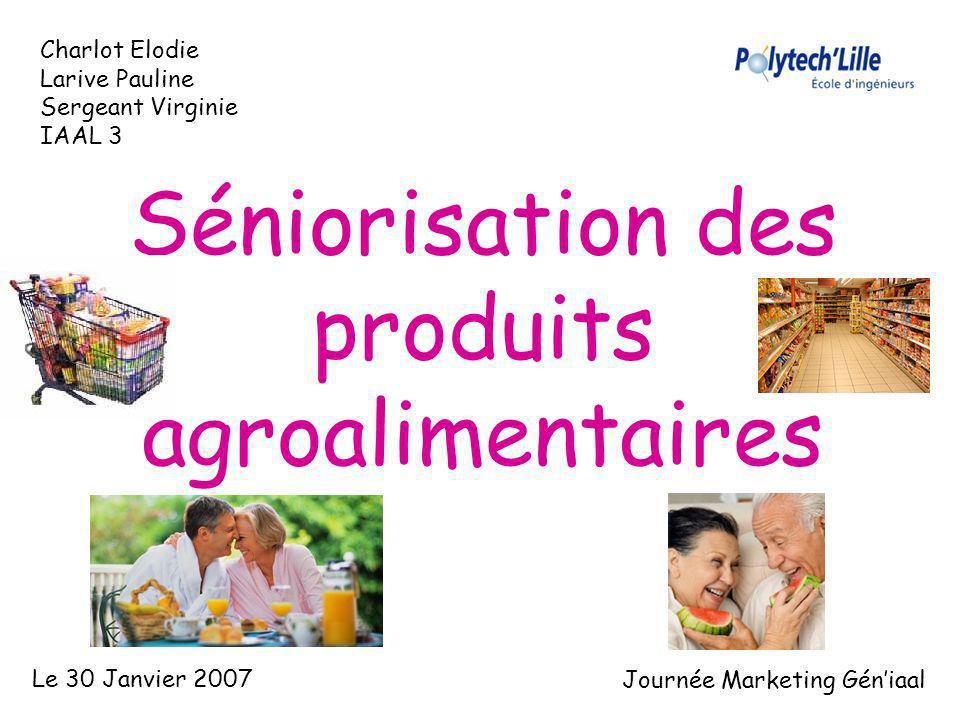 Séniorisation des produits agroalimentaires Charlot Elodie Larive Pauline Sergeant Virginie IAAL 3 Le 30 Janvier 2007 Journée Marketing Géniaal