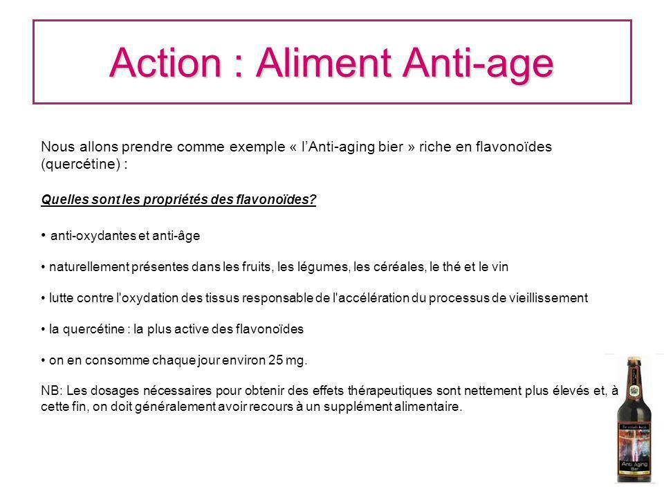 Action : Aliment Anti-age Nous allons prendre comme exemple « lAnti-aging bier » riche en flavonoïdes (quercétine) : Quelles sont les propriétés des f