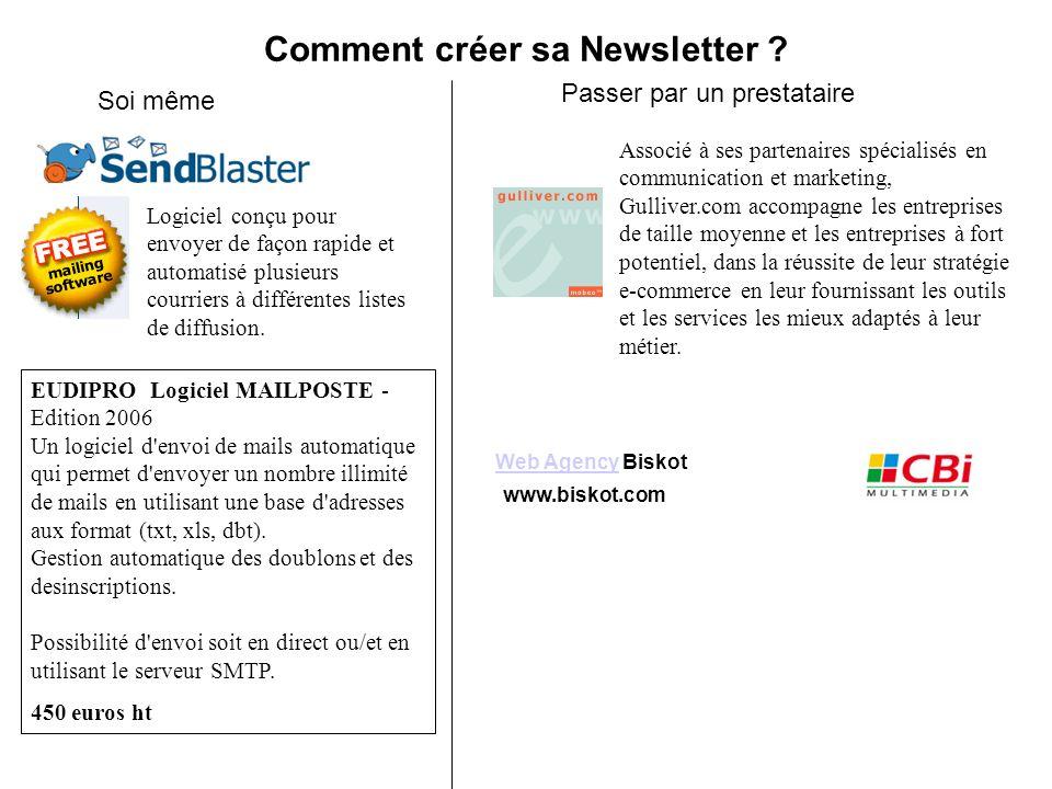 Comment créer sa Newsletter ? Soi même Passer par un prestataire Web AgencyWeb Agency Biskot www.biskot.com Logiciel conçu pour envoyer de façon rapid