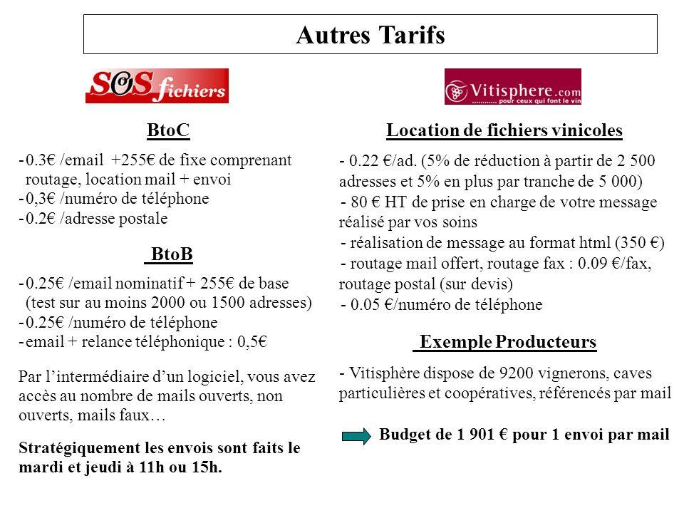 Autres Tarifs BtoC -0.3 /email +255 de fixe comprenant routage, location mail + envoi -0,3 /numéro de téléphone -0.2 /adresse postale BtoB -0.25 /emai