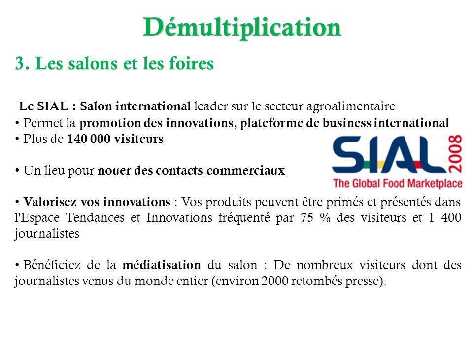 Démultiplication 3. Les salons et les foires Le SIAL : Salon international leader sur le secteur agroalimentaire Permet la promotion des innovations,