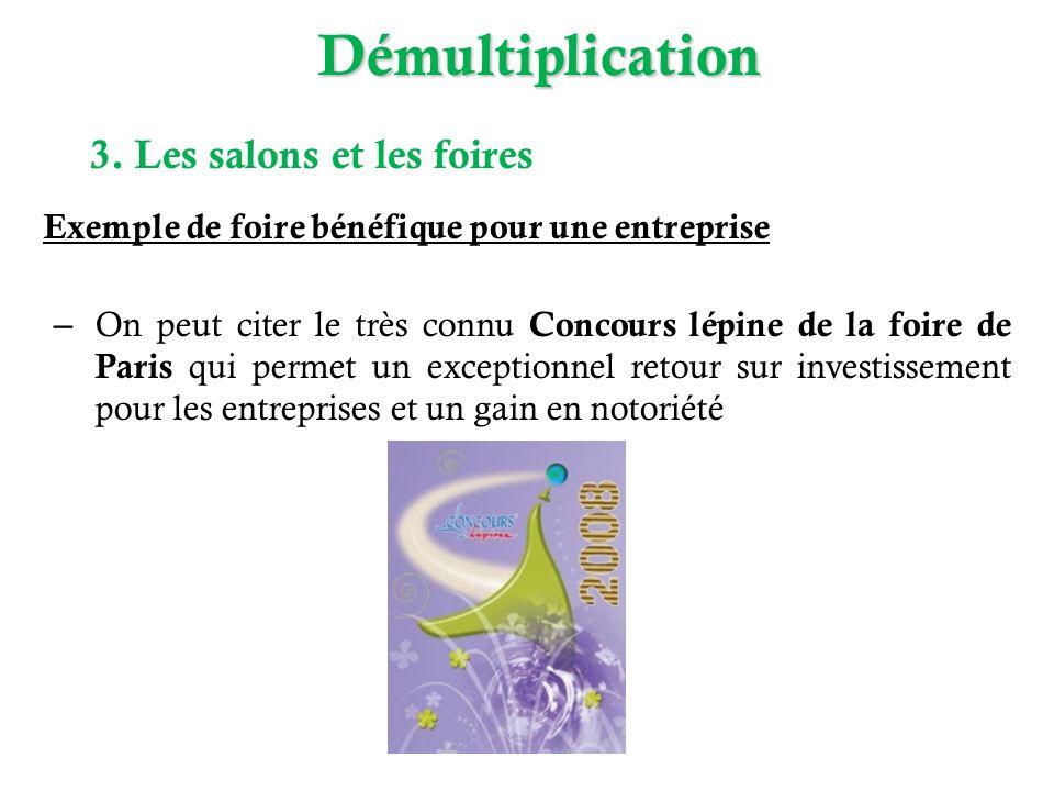 Exemple de foire bénéfique pour une entreprise – On peut citer le très connu Concours lépine de la foire de Paris qui permet un exceptionnel retour sur investissement pour les entreprises et un gain en notoriétéDémultiplication 3.