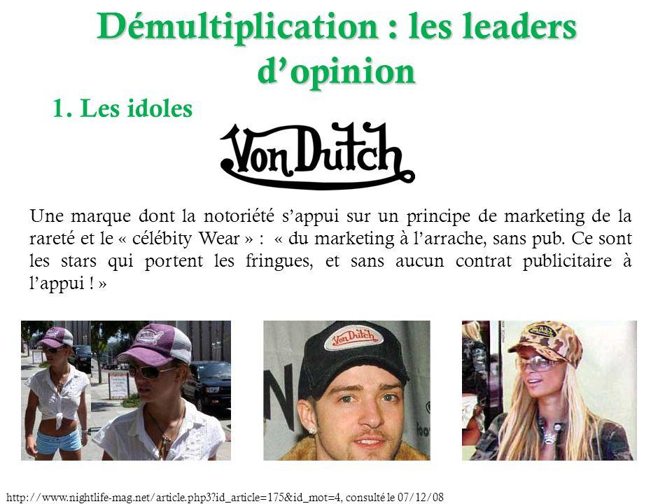 Démultiplication : les leaders dopinion 1. Les idoles Une marque dont la notoriété sappui sur un principe de marketing de la rareté et le « célébity W