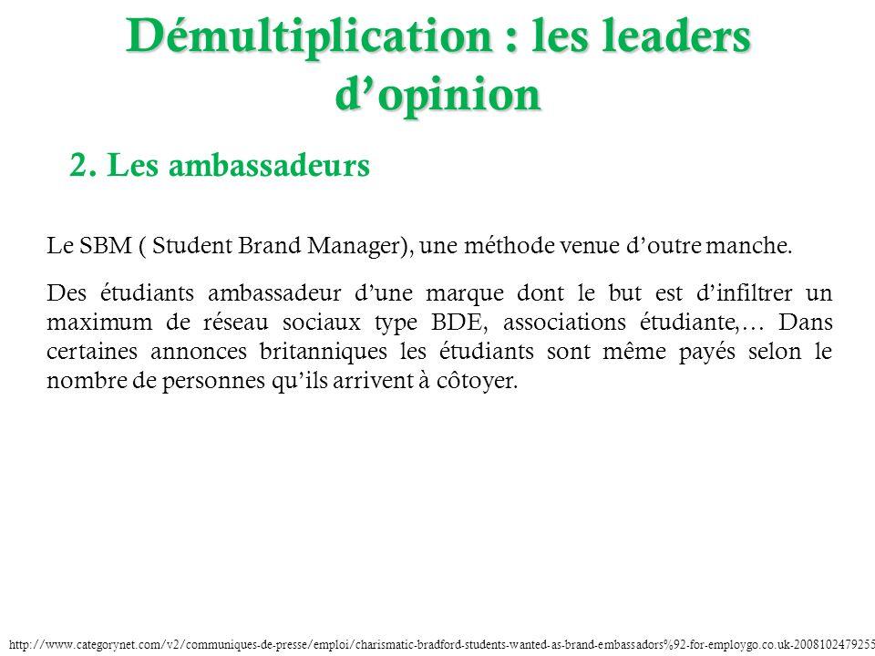 2. Les ambassadeurs Le SBM ( Student Brand Manager), une méthode venue doutre manche. Des étudiants ambassadeur dune marque dont le but est dinfiltrer
