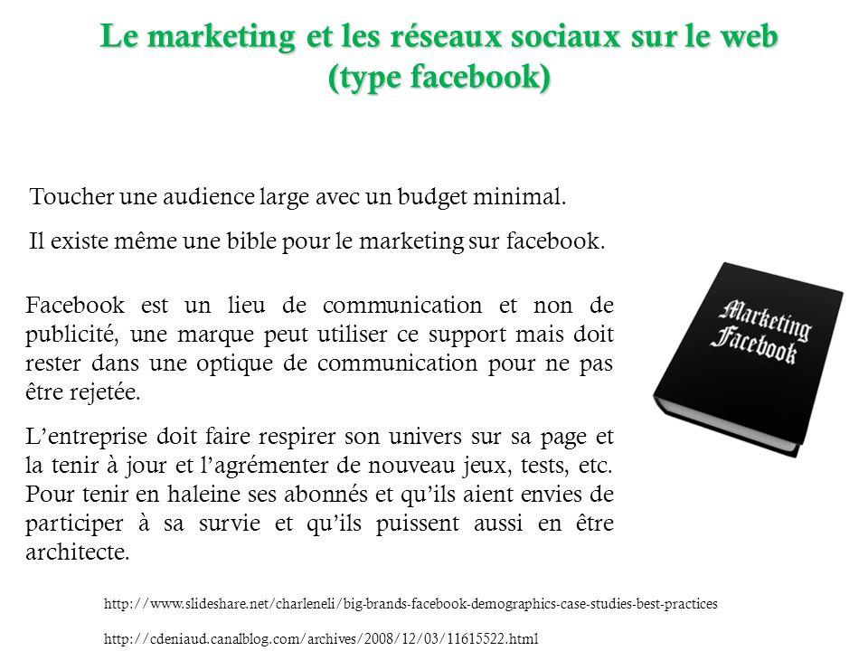 Le marketing et les réseaux sociaux sur le web (type facebook) (type facebook) http://www.slideshare.net/charleneli/big-brands-facebook-demographics-case-studies-best-practices http://cdeniaud.canalblog.com/archives/2008/12/03/11615522.html Facebook est un lieu de communication et non de publicité, une marque peut utiliser ce support mais doit rester dans une optique de communication pour ne pas être rejetée.