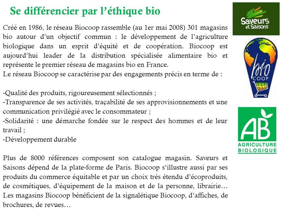 Créé en 1986, le réseau Biocoop rassemble (au 1er mai 2008) 301 magasins bio autour dun objectif commun : le développement de lagriculture biologique