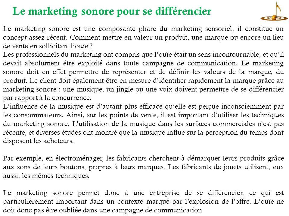 Le marketing sonore est une composante phare du marketing sensoriel, il constitue un concept assez récent.