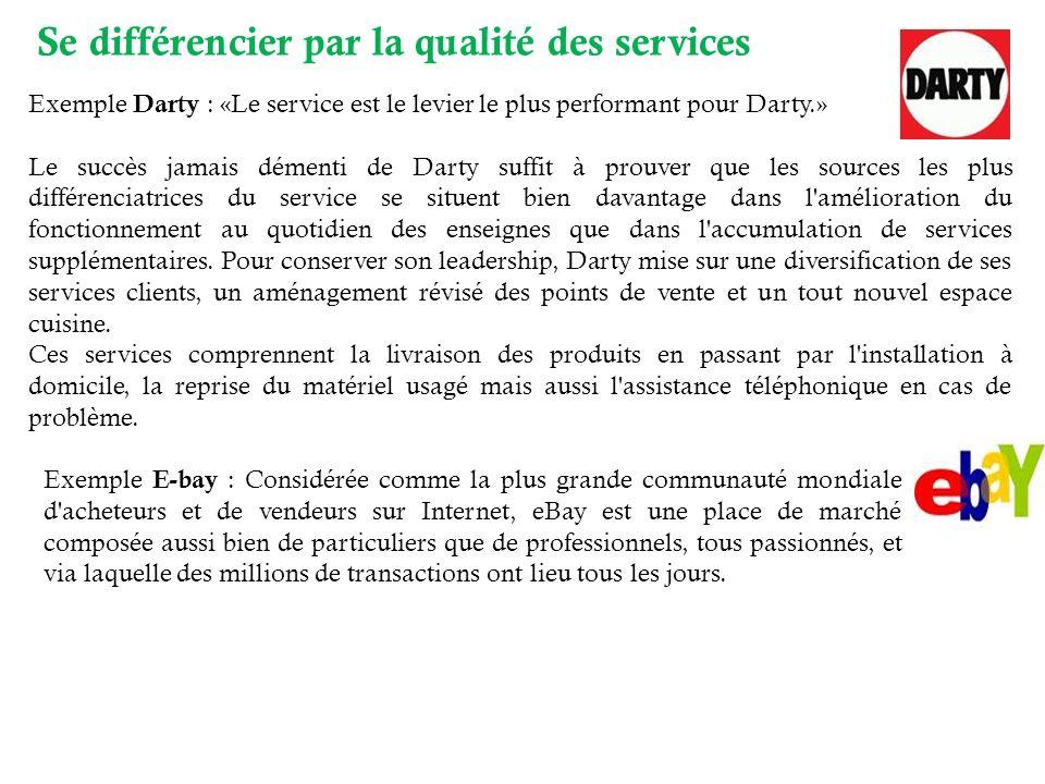 Exemple Darty : «Le service est le levier le plus performant pour Darty.» Le succès jamais démenti de Darty suffit à prouver que les sources les plus différenciatrices du service se situent bien davantage dans l amélioration du fonctionnement au quotidien des enseignes que dans l accumulation de services supplémentaires.