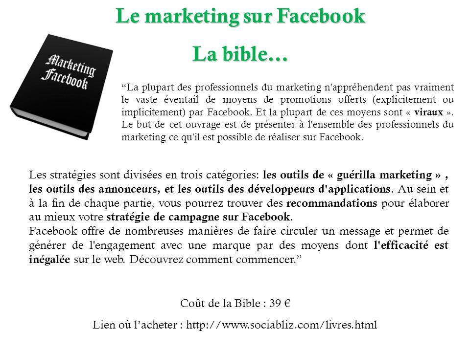 Le marketing sur Facebook La bible… La plupart des professionnels du marketing n appréhendent pas vraiment le vaste éventail de moyens de promotions offerts (explicitement ou implicitement) par Facebook.