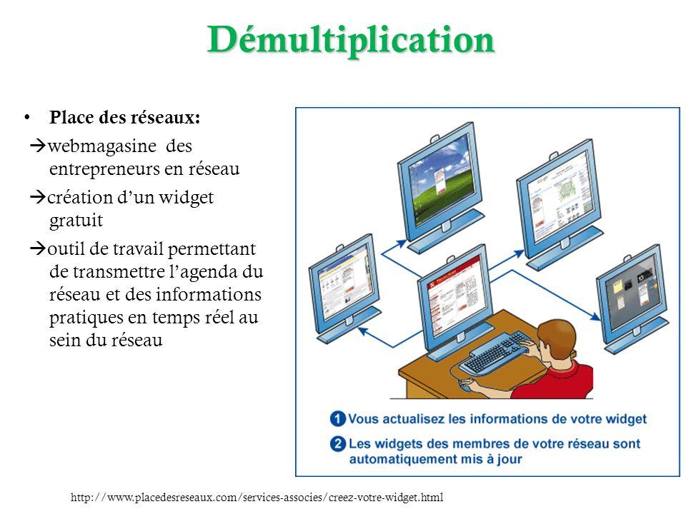 Démultiplication Place des réseaux: webmagasine des entrepreneurs en réseau création dun widget gratuit outil de travail permettant de transmettre lag