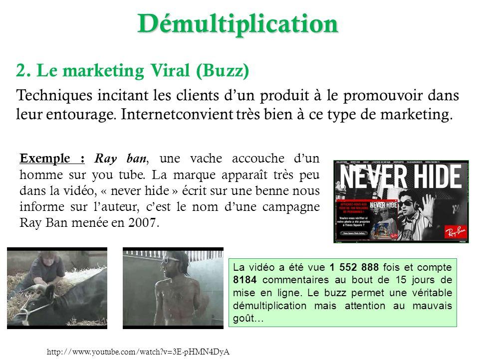 Démultiplication 2. Le marketing Viral (Buzz) Techniques incitant les clients dun produit à le promouvoir dans leur entourage. Internetconvient très b