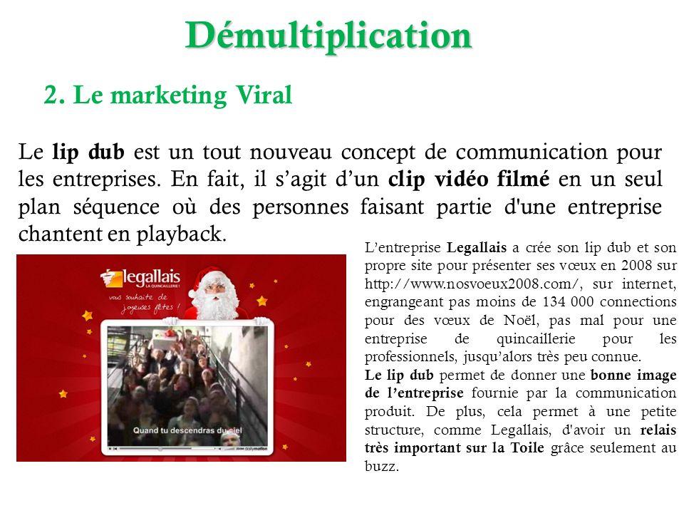 Démultiplication 2. Le marketing Viral Le lip dub est un tout nouveau concept de communication pour les entreprises. En fait, il sagit dun clip vidéo
