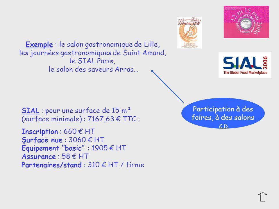 Participation à des foires, à des salons Exemple : le salon gastronomique de Lille, les journées gastronomiques de Saint Amand, le SIAL Paris, le salo