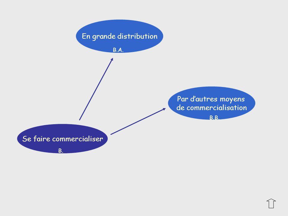En grande distribution Par dautres moyens de commercialisation Se faire commercialiser B. B.B. B.A.