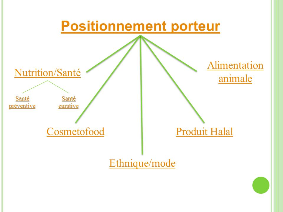 Positionnement porteur Produit Halal Ethnique/mode Nutrition/Santé Alimentation animale Cosmetofood Santé préventive Santé préventive Santé curative S