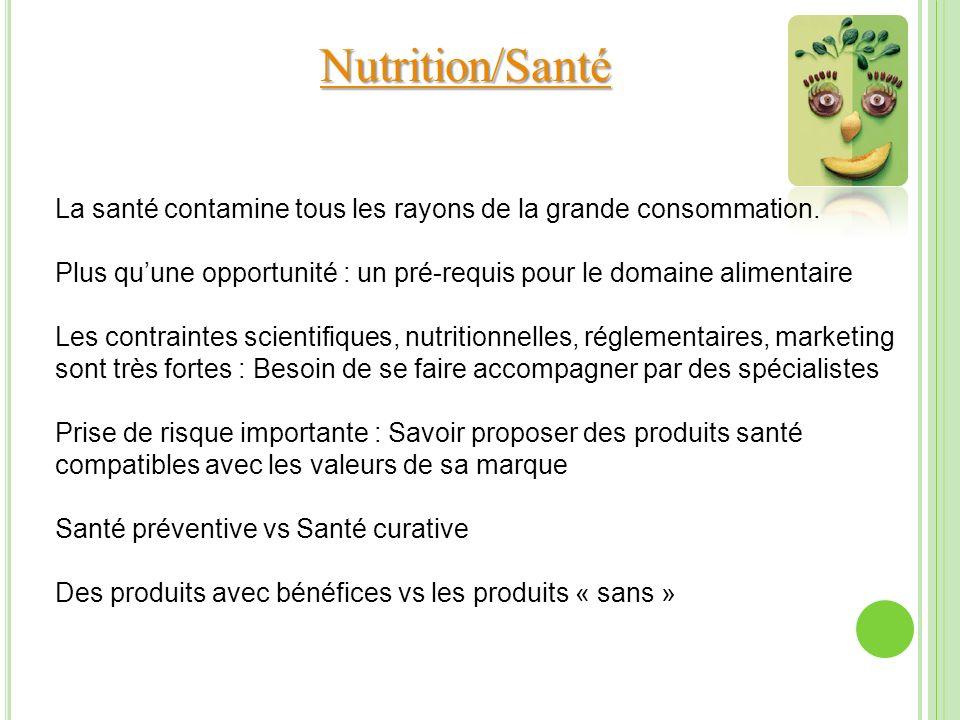 Nutrition/Santé La santé contamine tous les rayons de la grande consommation. Plus quune opportunité : un pré-requis pour le domaine alimentaire Les c