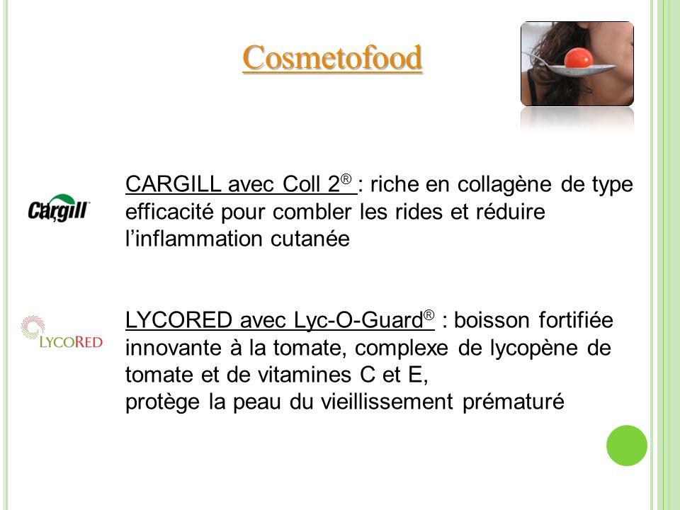 CARGILL avec Coll 2 ® : riche en collagène de type II, efficacité pour combler les rides et réduire linflammation cutanée LYCORED avec Lyc-O-Guard ® :