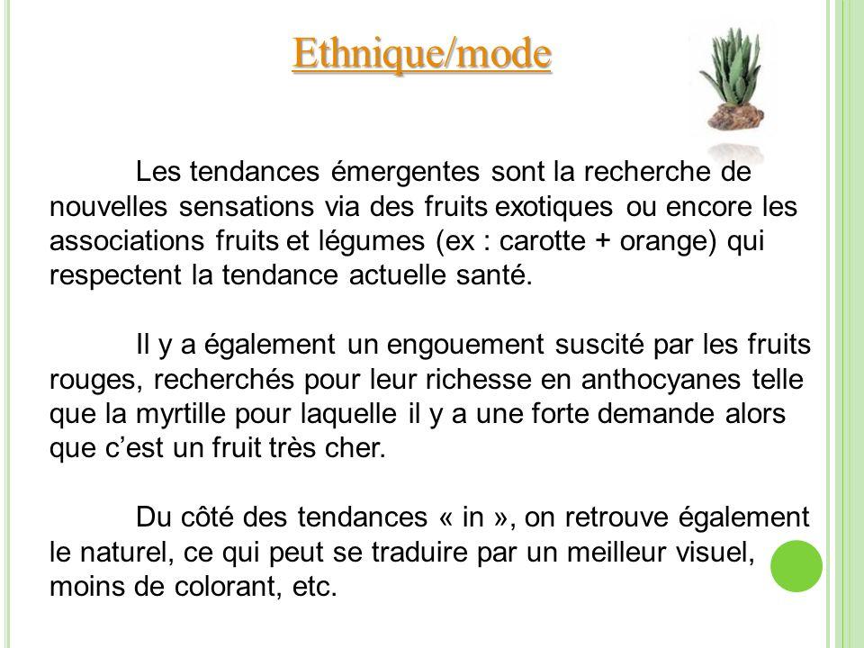 Ethnique/mode Les tendances émergentes sont la recherche de nouvelles sensations via des fruits exotiques ou encore les associations fruits et légumes