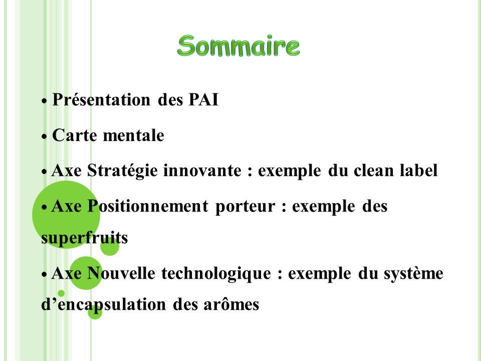 Présentation des PAI Carte mentale Axe Stratégie innovante : exemple du clean label Axe Positionnement porteur : exemple des superfruits Axe Nouvelle