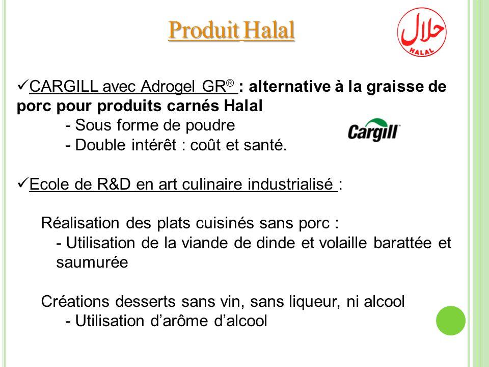 ProduitHalal Produit Halal CARGILL avec Adrogel GR ® : alternative à la graisse de porc pour produits carnés Halal - Sous forme de poudre - Double int