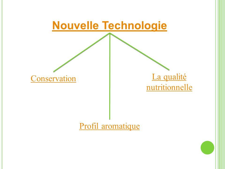 Nouvelle Technologie Profil aromatique Conservation La qualité nutritionnelle