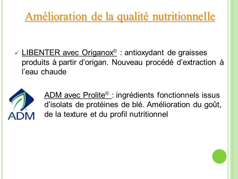 Amélioration de la qualité nutritionnelle Amélioration de la qualité nutritionnelle LIBENTER avec Origanox ® : antioxydant de graisses produits à part