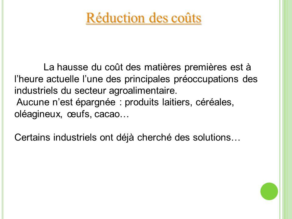Réduction des coûts Réduction des coûts La hausse du coût des matières premières est à lheure actuelle lune des principales préoccupations des industr