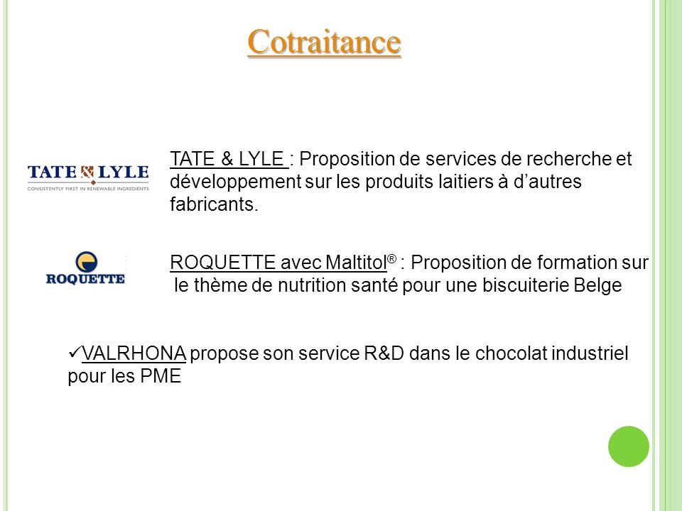 Cotraitance TATE & LYLE : Proposition de services de recherche et développement sur les produits laitiers à dautres fabricants. ROQUETTE avec Maltitol