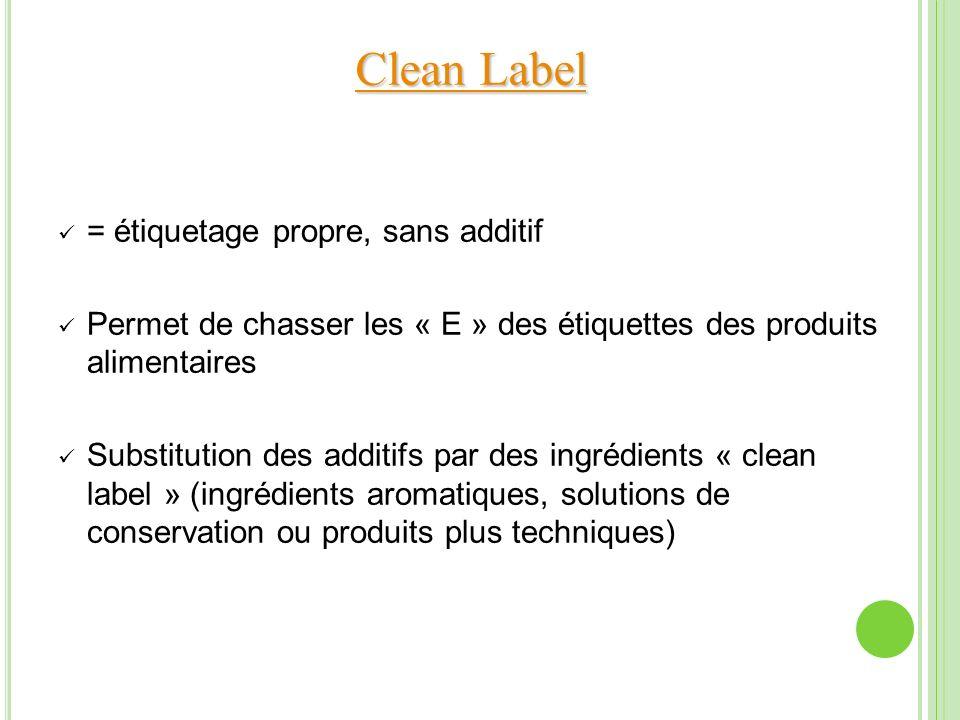 Clean Label Clean Label = étiquetage propre, sans additif Permet de chasser les « E » des étiquettes des produits alimentaires Substitution des additi