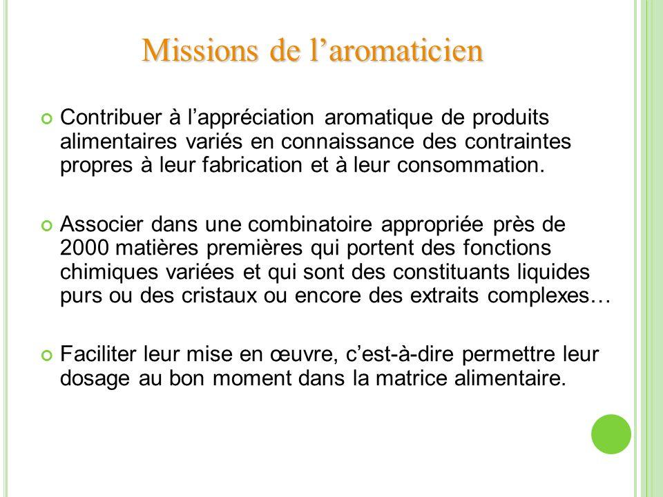 Missions de laromaticien Contribuer à lappréciation aromatique de produits alimentaires variés en connaissance des contraintes propres à leur fabricat