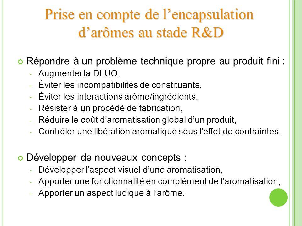 Prise en compte de lencapsulation darômes au stade R&D Répondre à un problème technique propre au produit fini : - Augmenter la DLUO, - Éviter les inc