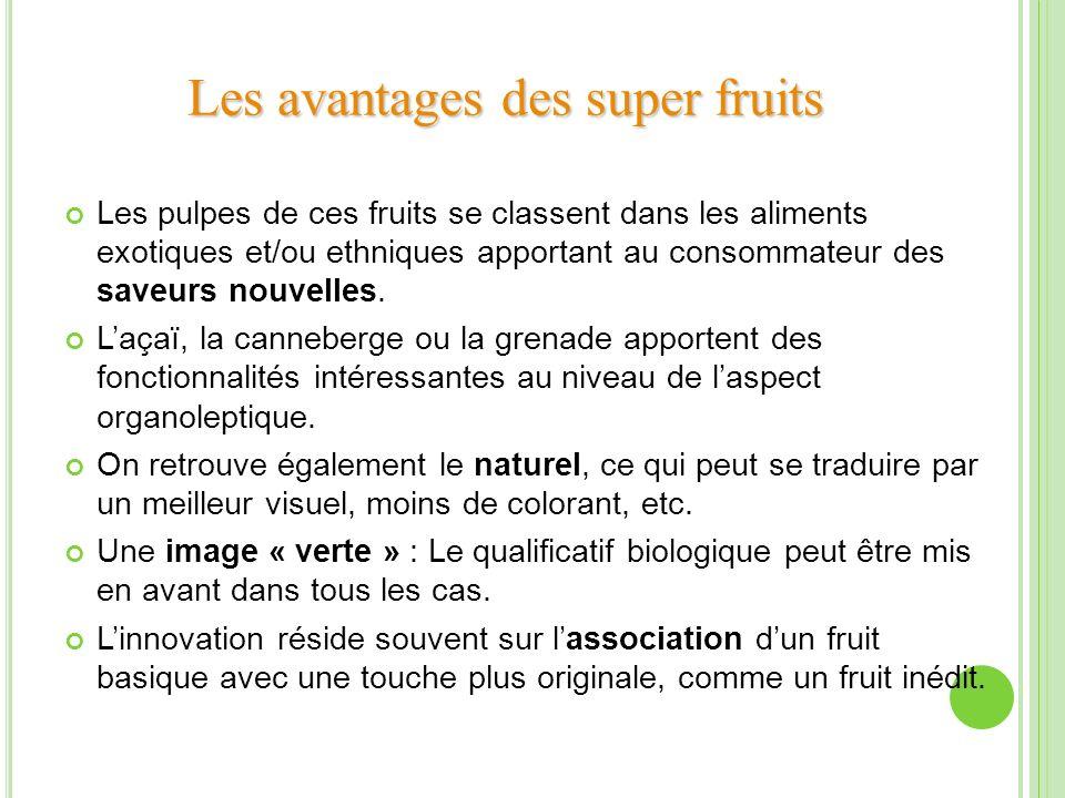 Les pulpes de ces fruits se classent dans les aliments exotiques et/ou ethniques apportant au consommateur des saveurs nouvelles. Laçaï, la canneberge