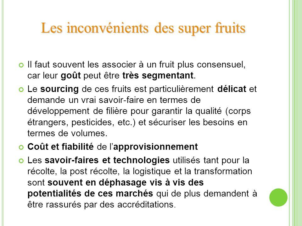Il faut souvent les associer à un fruit plus consensuel, car leur goût peut être très segmentant. Le sourcing de ces fruits est particulièrement délic
