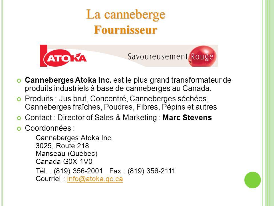 Canneberges Atoka Inc. est le plus grand transformateur de produits industriels à base de canneberges au Canada. Produits : Jus brut, Concentré, Canne