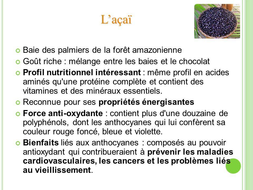 Baie des palmiers de la forêt amazonienne Goût riche : mélange entre les baies et le chocolat Profil nutritionnel intéressant : même profil en acides
