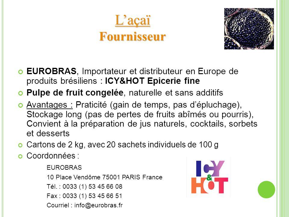 EUROBRAS, Importateur et distributeur en Europe de produits brésiliens : ICY&HOT Epicerie fine Pulpe de fruit congelée, naturelle et sans additifs Ava