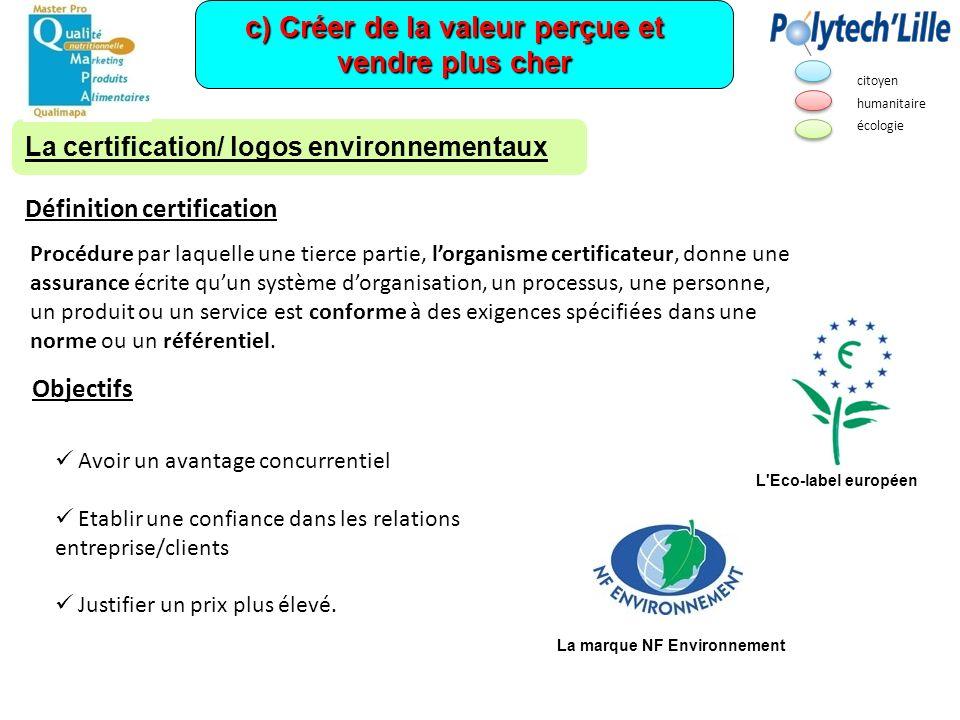 c) Créer de la valeur perçue et vendre plus cher La certification/ logos environnementaux Procédure par laquelle une tierce partie, lorganisme certifi